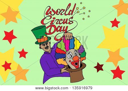 World circus day. Hand drawn vector stock illustration.