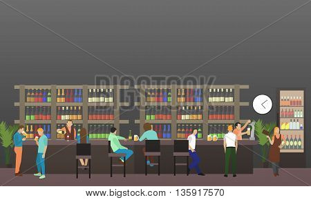 Vector set of brewery and beer restaurant concept banners. Visitors drink beer in a bar. Restaurant interior.
