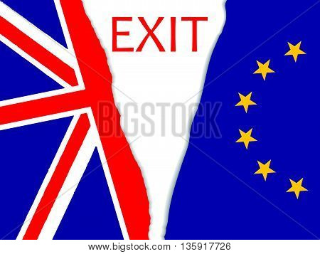 Brexit vector illustration.European Union and England torn flags.Brexit cracks. United Kingdom exit from europe vector.Brexit concept. British flag. EU flag.