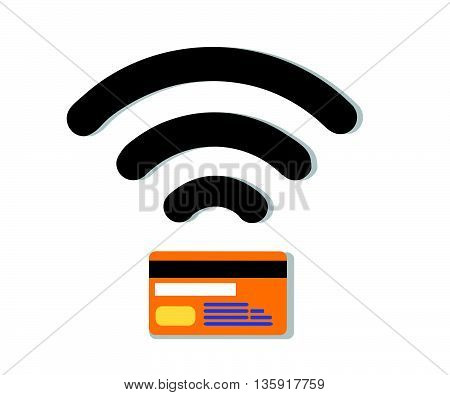 Wifi Credit Debit Card.Contactless credit card vector.Credit Card wifi. Credit card sign icon. Debit card symbol. Virtual money..