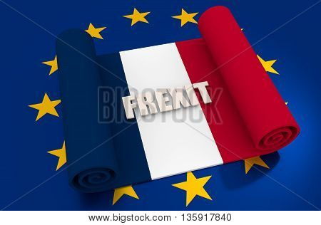 France and European Union relationships relative image. Frexit named politic process. Scroll textured by national flag. 3D rendering