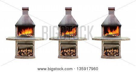 Set of outdoor fireplaces with burning firewood with different fire for barbecue grill and roasting food. Isolated on white background
