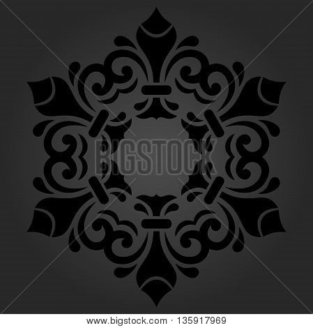 Elegant vector dark ornament in the style of barogue. Abstract traditional round pattern with oriental elements
