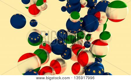 Large group of orbs or spheres levitation in empty space. 3D rendering. Hungary and European Union flags
