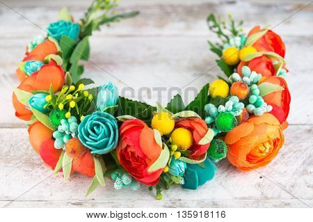 Turquoise hoop from flowers, Hair accessories. Decoration for the head on white wood