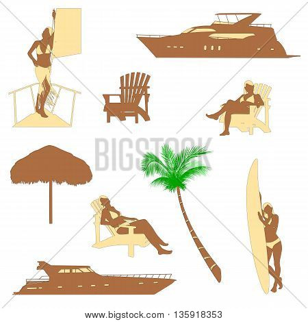 set of beach recreation realistic silhouettes with blonde girl in bikini