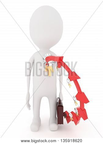 3D Character Wearing A Badge While Holding A Briefcase In Hand Concept