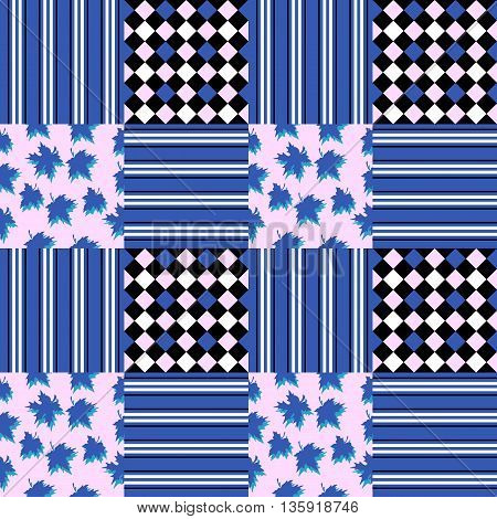 Seamless pattern with maple leaves and geometric ornament. Vector illustration in blue tones.