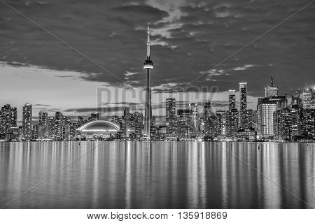 The skyline of the city of Toronto in the evening via long exposure