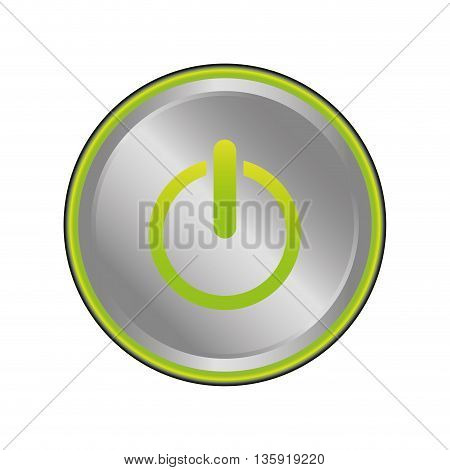On concept represented by button  icon. isolated and flat illustration
