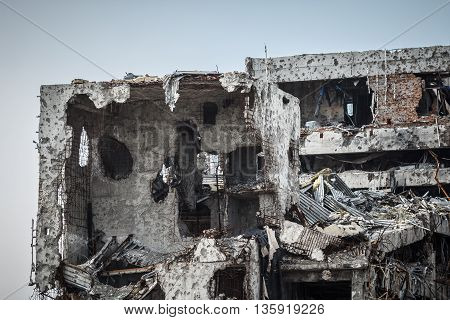 Detail view of donetsk airport ruins after massive artillery shelling