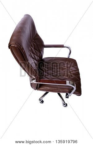 Brown leather office chair isolated on white