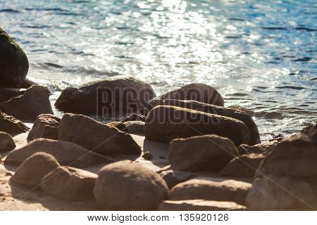 Baltic sea coast in sunlight abstract background