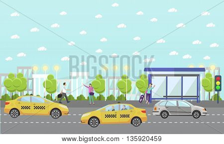 Vector set of taxi service company concept banners. People catch taxi on a street. Passengers in taxi car.