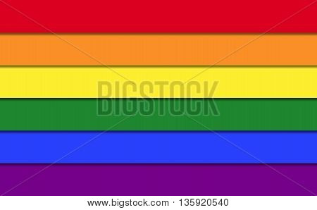 Rainbow Flag of LGBT movement. Gay pride flag consisting of six stripes with shapes. Illustration.