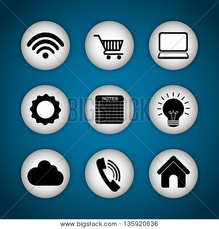 Internet of things represented by icon set of multimedia apps. Blue and flat background