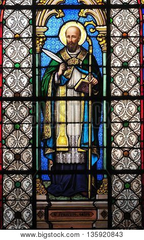 Conflans Sainte Honorine France - april 4 2016 : the Saint Maclou church stained glass window