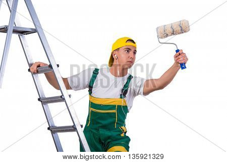 Young repairman painter climbing ladder isolated on white