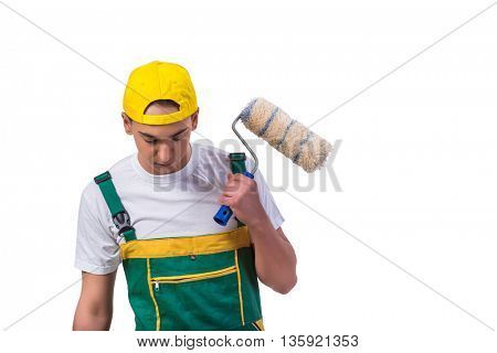 Young repairman painter with roller isolated on white