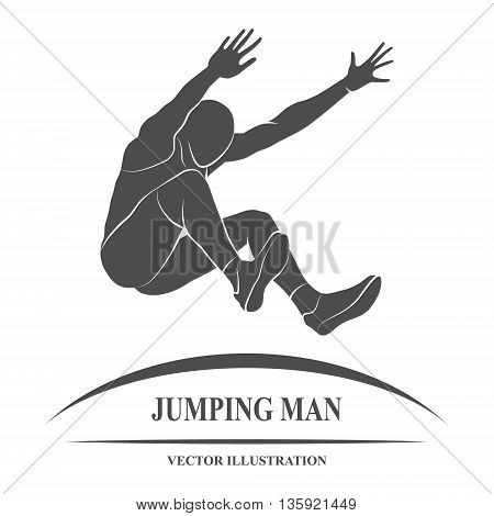 The athlete jumps in length. Vector illustration