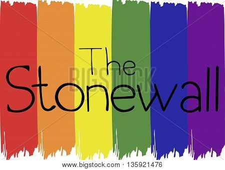 Hand lettered The Stonewall on LGBT flag. Vector illustration.