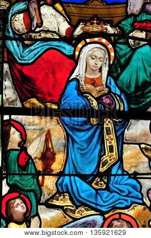 Triel sur Seine France - april 3 2016 : historical stained glass window in Saint Martin church