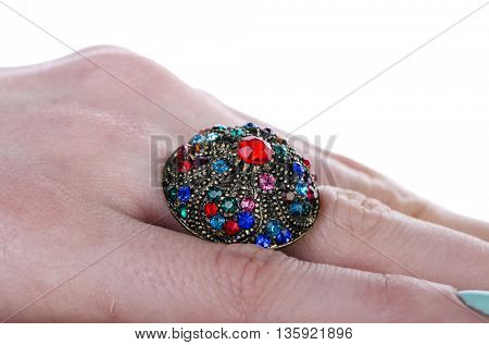 Jewellery ring isolated on the white
