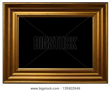 Antique golden frame with black copy space isolated on white background