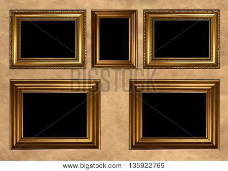 Five antique golden frames with black copy space on vintage background