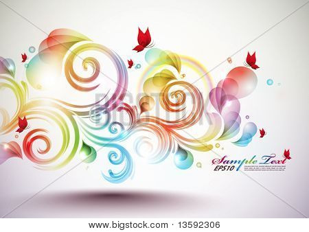 Colorful Vector Floral Element