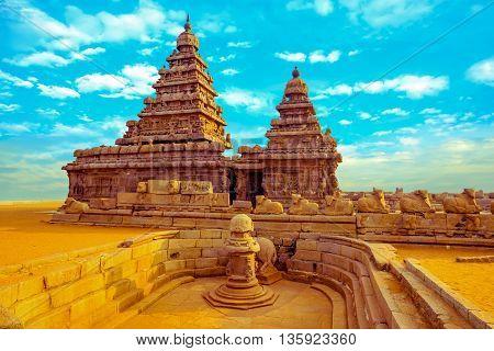 Fantastic Art Design Of Monolithic Famous Shore Temple Near Mahabalipuram, World Heritage Site In Ta