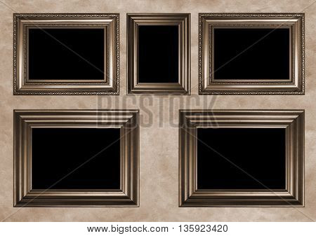 Five antique frames with black copy space - Sepia toned image in retro style