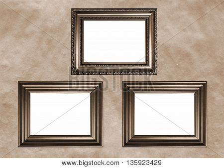 Three antique frames with white copy space - Sepia toned image in retro style