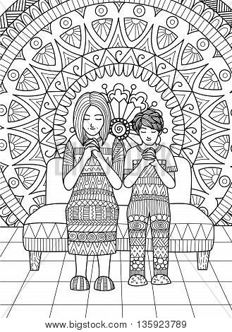 Clean lines doodle design of Mom and her son praying together , for adult coloring.