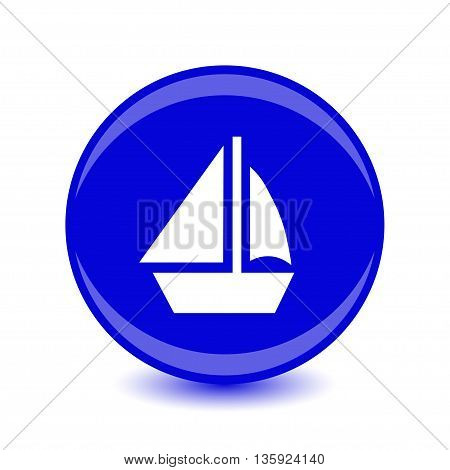 yacht icon, blue circle flat design internet button