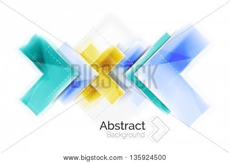 Vector web brochure, internet flyer, wallpaper or cover poster design. Geometric style, colorful realistic glossy arrow shapes with copyspace. Directional idea banner