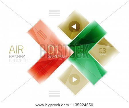 Glass arrow template. Vector abstract geometric design template
