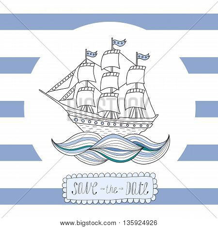 Greeting card invitation with blue stripes with a round frame and a sailing ship in the center.