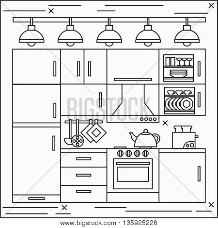 Black and white thin line art flat vector kitchen interior home