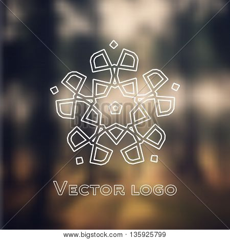 Vector abstract geometric icon logo isolated on blurred background.
