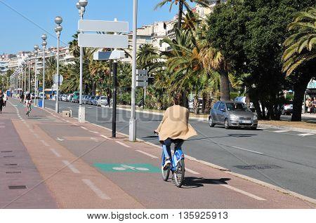 Nice France - april 19 2016 : cyclit on the Promenade des Anglais