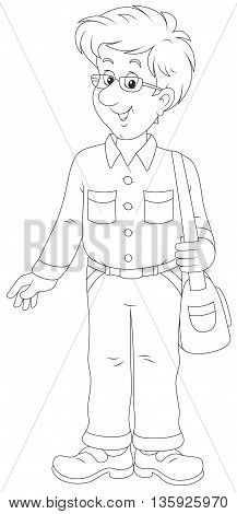 Cheerful young man. Black and white vector illustration of a friendly smiling optimistic lad