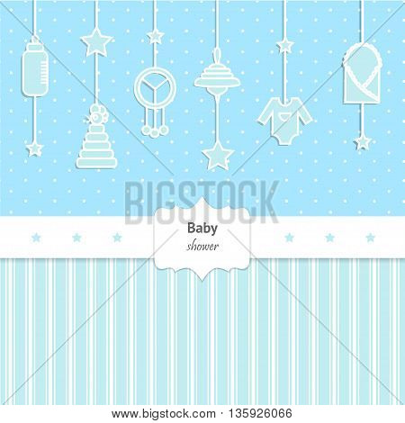 Baby Shower Invitation for boy. Cute card with toys and baby cloth
