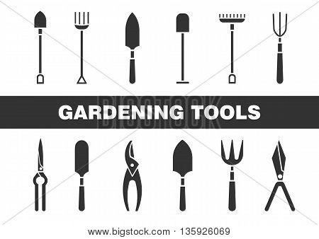 Set of icons - gardening tools. Web design. Logo icons. Spring season gardening