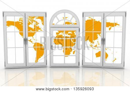 Closed plastic windows wiht map of world on white background. 3D rendering
