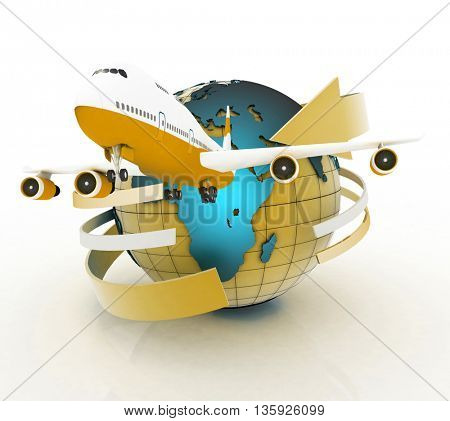 Airliner with a globe in the white background. 3D rendering