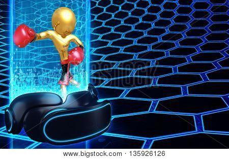 Virtual Reality VR Boxing 3D Illustration