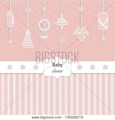 Baby Shower Invitation for girl. Cute card with toys and baby cloth