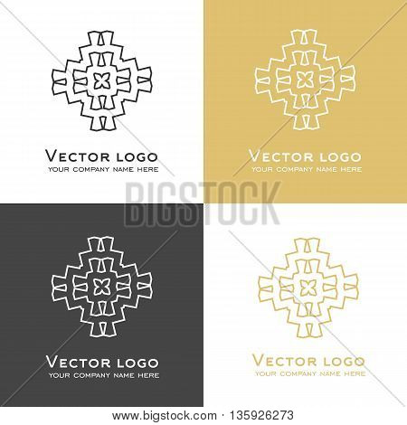 Set of vector abstract geometric logo in dark grey and gold colors. Celtic arabic style. Sacred geometry icon. Brand Identity