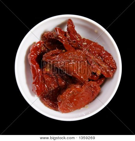 Plate With Dried Tomatoes In Oil